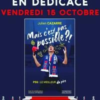 """🚨🚨🚨 SEANCE EXCEPTIONNELLE DE DEDICACES 🚨🚨🚨 . Julien Cazarre (RMC, Canal+, M6), bien connu de tous les supporters du PSG pour son amour du club et sa source inépuisable de vannes contre Marseille, sera en séance exceptionnelle de dédicaces ce vendredi 15 octobre à la Boutique des Supporters. 🔴🔵🔥🔥 . A l'occasion de la sortie de son nouveau livre """"Mais C'est pas Possible !!!"""" le 21 octobre prochain, l'humoriste sera présent dans le magasin de 18h à 20h45 pour dédicacer les premiers exemplaires de son ouvrage en avant-première !!! 🤩 . #psg #teampsg #parissaintgermain #Paris #paname #cazarre #livre #dedicace #parcdesprinces #ultras #supporters #auteuil #boulogne #icicestparis #parisestmagique"""
